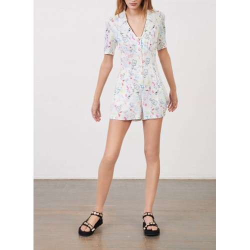 MAJE Women ICAKE - Multicolored Printed playsuit with classic collar DQFW816