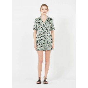SANDRO Women's DIVINE - Green Printed satin playsuit CESF848