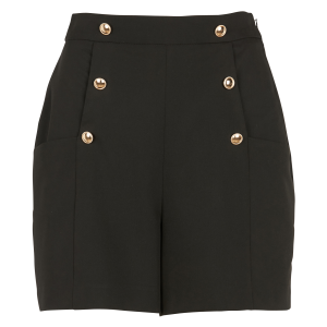 SINEQUANONE Women's Black Straight buttoned shorts good quality IUZD405