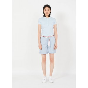 TOMMY HILFIGER Women Blue High-waisted cotton-blend chino shorts most comfortable QMWA787