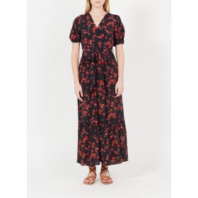 LA FEE MARABOUTEE Women Multicolored Long printed V-neck dress Fit AANY691