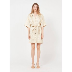 SANDRO Women's AIMEE - Beige Short belted printed jacquard dress with tailored collar In Sale NMHD949