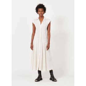 SANDRO Women's ANDRINA - White Striped cotton and linen midi dress with classic collar in new look XXFG652