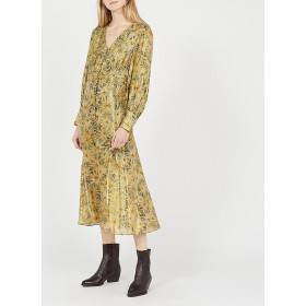 THE KOOPLES Women's Black Long V-neck button-up dress with floral print shopping NHSW796