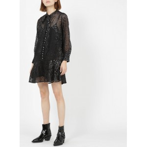 THE KOOPLES Women's Black Short jacquard star dress with pussy-bow collar Cost OZHD471