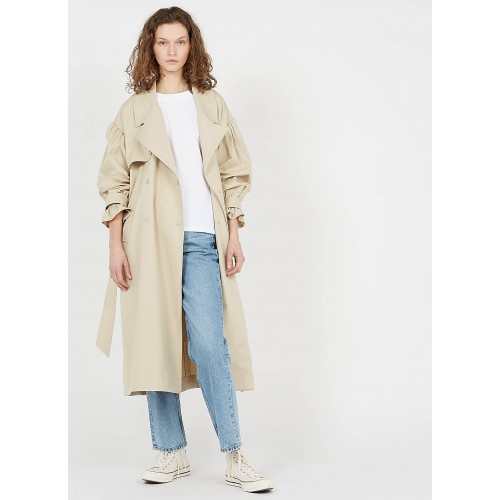 BA & SH Women ALAN - Beige Cotton trench coat with tailored collar QQSN467