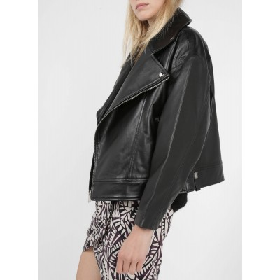 BA & SH Women's KEITH - Black Zip-up high-neck leather jacket shopping VQYJ587