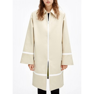 BIMBA Y LOLA Women's Beige Zip-up cotton trench coat with classic collar New Arrival EUAH653