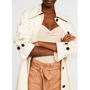 CLAUDIE PIERLOT Women GAGNANT - Beige Cotton-blend trench coat with classic collar KFWI736