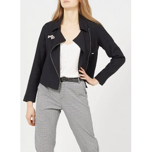 I CODE Women's QS40134 - Black Linen jacket with tailored collar and badge Deals RHKB453