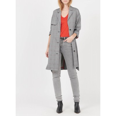 I CODE Women's QS44064 - Grey Long checked trench coat with tailored collar The Top Selling RKZS260