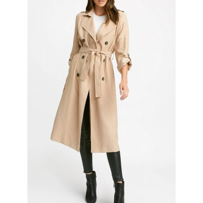 KOOKAI Women Beige Long trench coat with tailored collar good quality BKST505