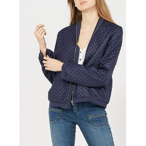 ONE STEP Women's Blue Round-neck zipped jacket outlet WIBH882