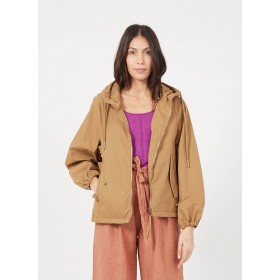 OOF Women Brown Hooded cotton-blend parka Fitted CVPB371