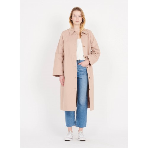 PIECES Women PCGRETCHEN - Pink Long trench coat with classic collar Trends HARW554