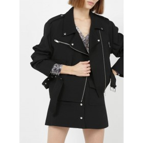 THE KOOPLES Women Black Zip-up wool jacket with tailored collar Online Wholesale YIYY505