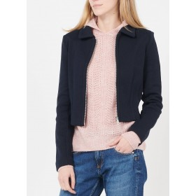 WHISTLES Women's Blue Zip-up cotton jacket with classic collar Online Wholesale YOZX410