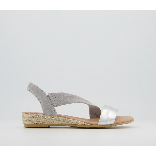Office Heidi Espadrille Sandals Grey Suede Silver Mix With Studs - Women's Sandals for Women New Style NLLOD3543
