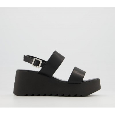 Office Mali Two Part Wedge Sandals Black Leather - Wedges for Women Trends 9F6ZH8151