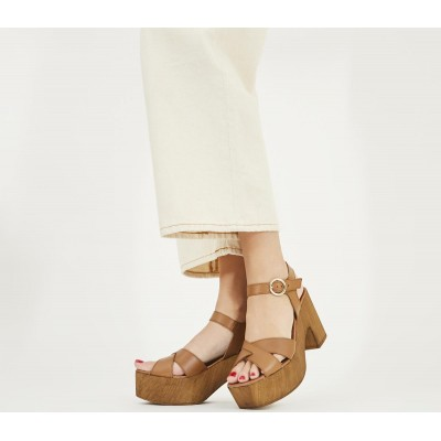 Office Marzipan Block Cross Strap Sandals Tan Leather - Mid Heels for Women Fitted GWWLU6563