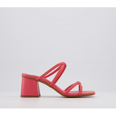 Office Merrybell Strappy Block Mules Coral Leather - Mid Heels for Women for sale near me 6Y5HB3444