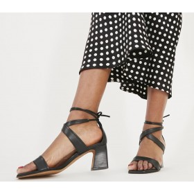 Office Miss Monday Block Heel Sandals Black Leather - Mid Heels for Women on sale online A6D7H3040