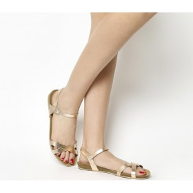 Office Safari Cross Strap Footbed Sandals Rose Gold Leather - Women's Sandals for Women For Sale VD8WU6866