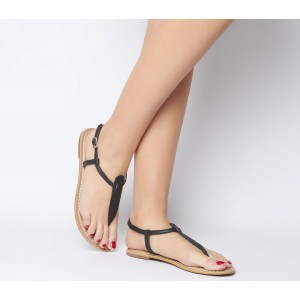 Office Samba Toe Post Sandals Black Croc Leather - Women's Sandals for Women outlet 3BY0F7708