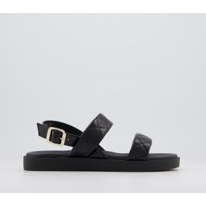 Office Sao Paulo Two Part City Sandals Black Stitched Leather - Women's Sandals for Women DS14A3338