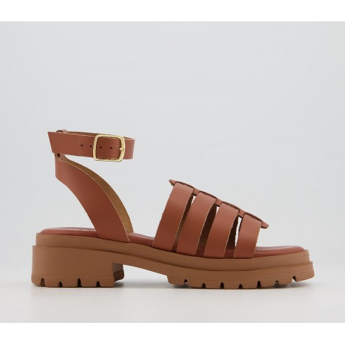 Office Sawyer Chunky Gladiator Sandals Tan Leather - Women's Sandals for Women LHXZ42625