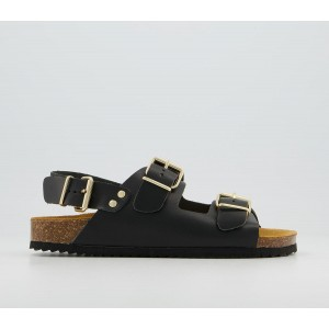 Office Shortly Double Buckle Sling Footbed Sandals Black Leather - Women's Sandals for Women UU60G7282