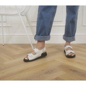 Office Sleek Double Strap Footbed Sandals Off White Leather - Step Out In Style for Women shopping 8QEPO1316