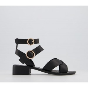 Office Solution Buckle Ankle Strap Sandals Black Leather - Women's Sandals for Women In Sale 8NGV75381