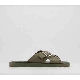 Office Support Cross Strap Buckle Mule Sandals Khaki Leather - Women's Sandals for Women GR0NY6421