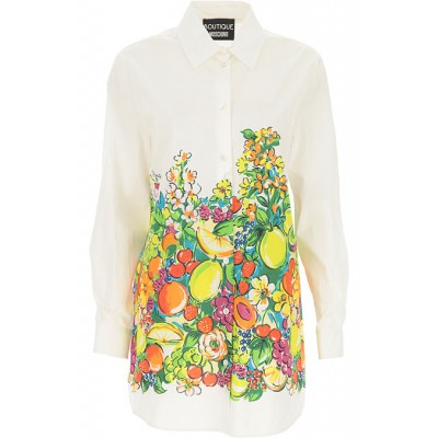 Moschino Women Shirts White•Other colors:Multicolor Evening EJNN822