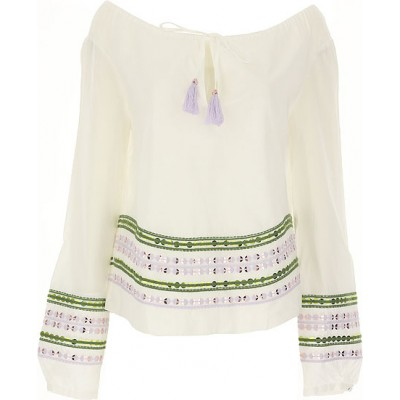 Tory Burch Women Shirts White•Other colors:Green,lilla Casual In Sale VSGC608