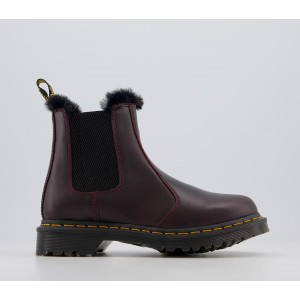Dr. Martens 2976 Leonore Fur Lined Chelsea Boots Oxblood Atlas - Ankle Boots for Women New Season 6E2B28369