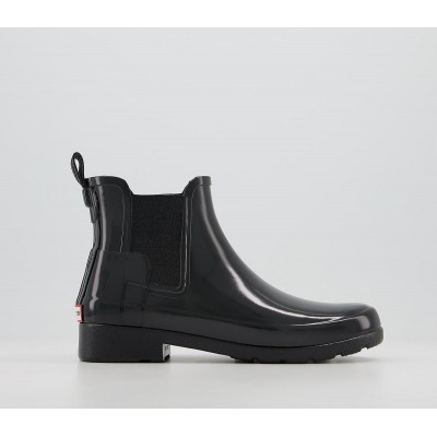 Hunter Womens Refined Chelsea Gloss Boots Black - Ankle Boots for Women spring 2021 U8PKF1298