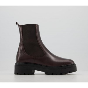 Office Accuse Chunky Chelsea Boots Brown Leather - Ankle Boots for Women Number 1 Selling QC3ZK1073