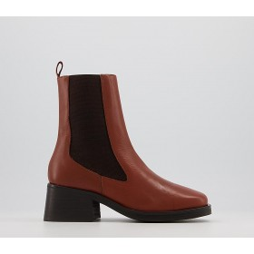 Office Activate High Cut Chelsea Boots Dark Tan Leather - Ankle Boots for Women 2021 068CU4943