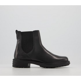 Office Aim Chelsea Cleated Boots Black Leather - Ankle Boots for Women YGIBP9160