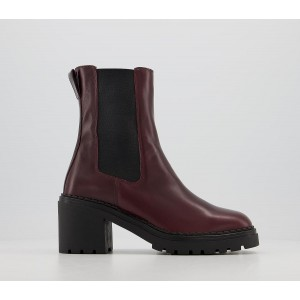 Office Alexa Chunky Block Chelsea Boots Burgundy Leather - Ankle Boots for Women Shop HEPBZ4012
