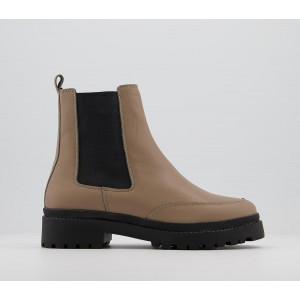 Office Amuse Contrast Sole Chelsea Boots Taupe Leather With Black Sole - Ankle Boots for Women the best IP5HU6737