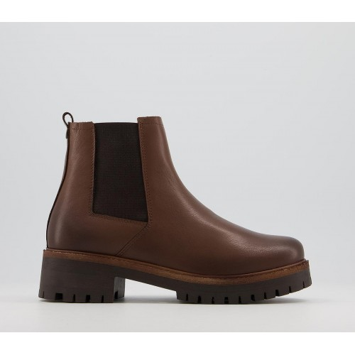 Office Appeal Mid Heel Casual Chelsea Boots Brown Leather - Ankle Boots for Women Boutique K0O9J5687