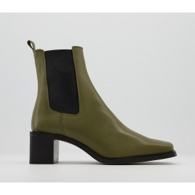 Office Appreciate Square Toe Block Heel Chelsea Boots Khaki Leather - Ankle Boots for Women Clearance Sale W7YEQ5611