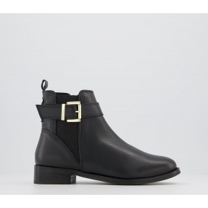 Office Ariel Flat Chelsea Buckle Boots Black Leather - Ankle Boots for Women XW09R5321