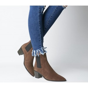 Office Autumn Smart Western Boots Brown Suede - Ankle Boots for Women XT3U22775