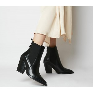 Office Avelyn Western Chelsea Boots Black Leather - Ankle Boots for Women the best W1QAQ4962