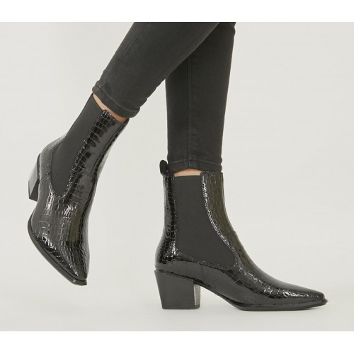 Vagabond Shoemakers Betsy Heel Chelsea Boots Black Croc - Ankle Boots for Women 66QLD6864