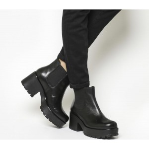 Vagabond Shoemakers Dioon Elastic Chelsea Boots Exclusive Black Leather - Ankle Boots for Women Latest Fashion 810GA5813